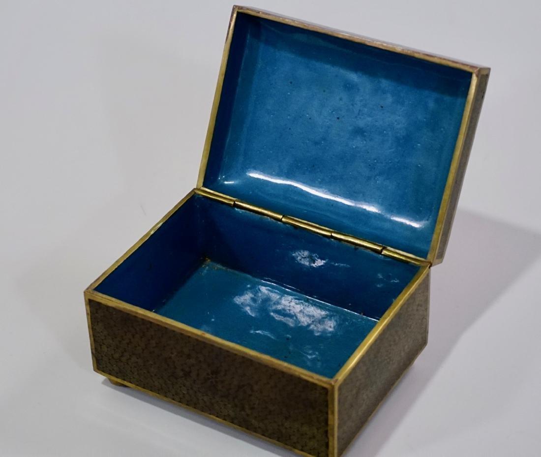 Old Oriental Cloisonne Enamel Jewelry Trinket Box - 5
