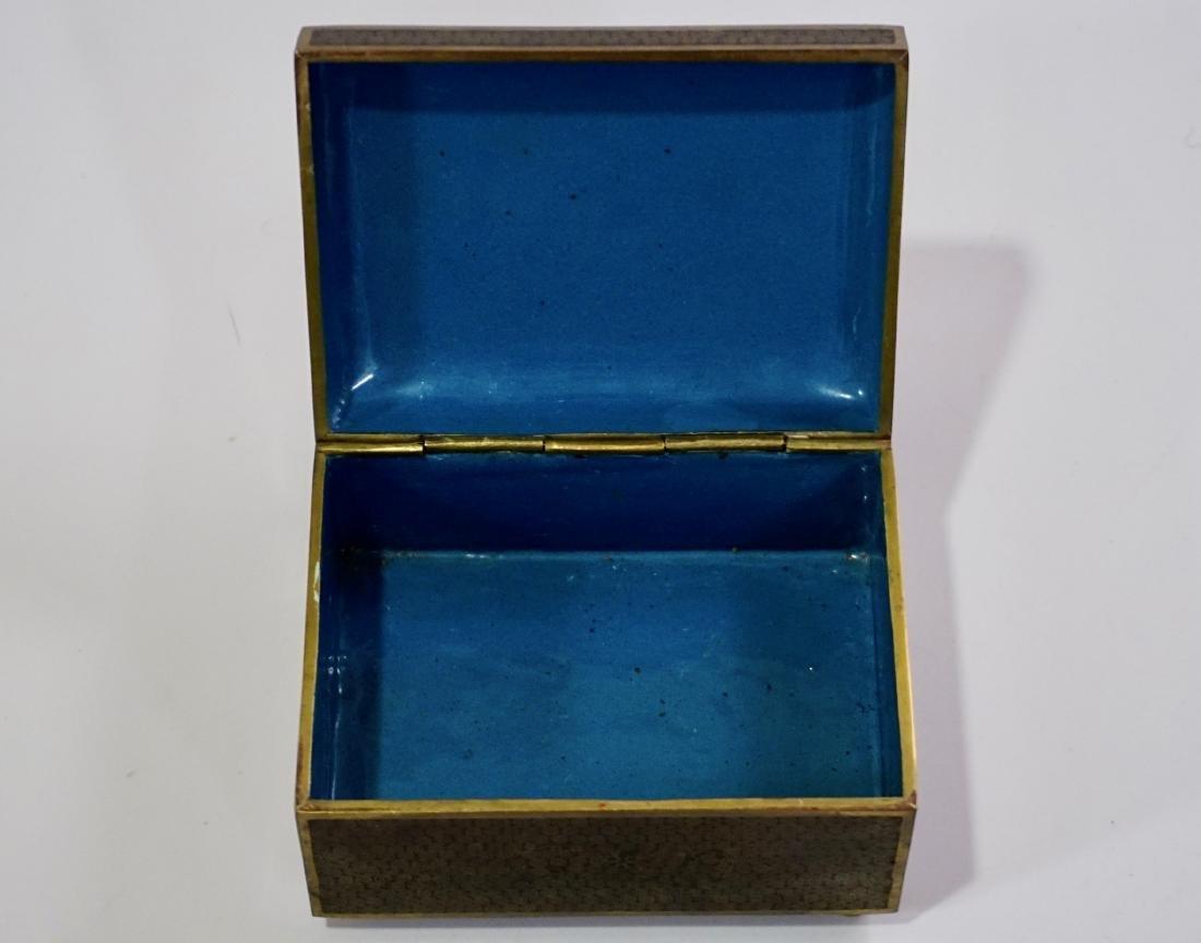 Old Oriental Cloisonne Enamel Jewelry Trinket Box - 6