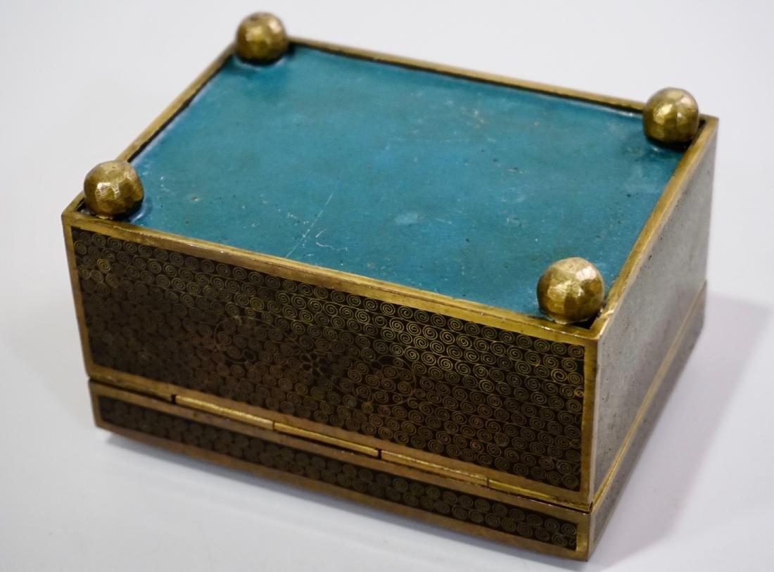 Old Oriental Cloisonne Enamel Jewelry Trinket Box - 7