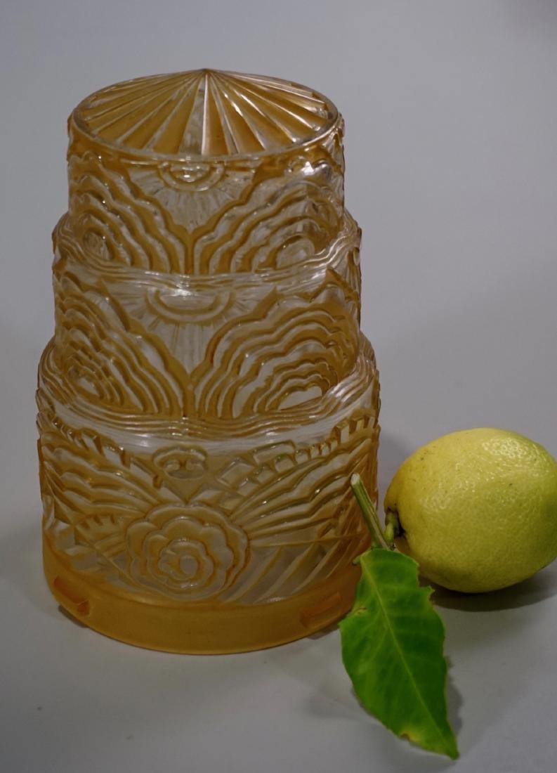 Art Deco Period Pendant Lamp Embossed Amber Glass Shade