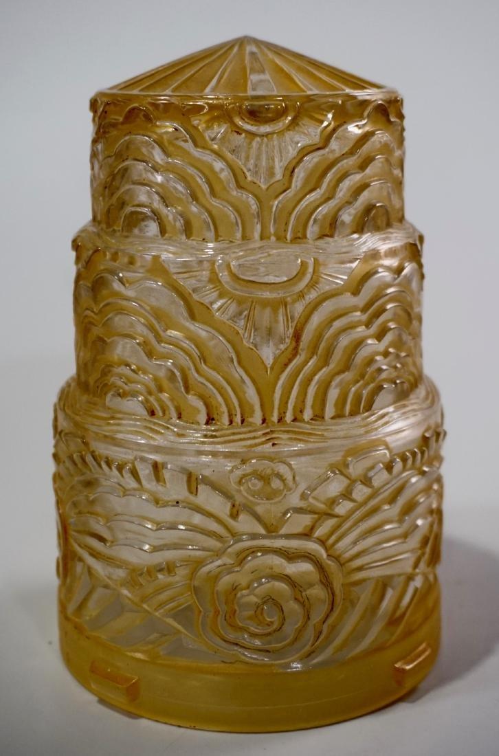 Art Deco Period Pendant Lamp Embossed Amber Glass Shade - 2