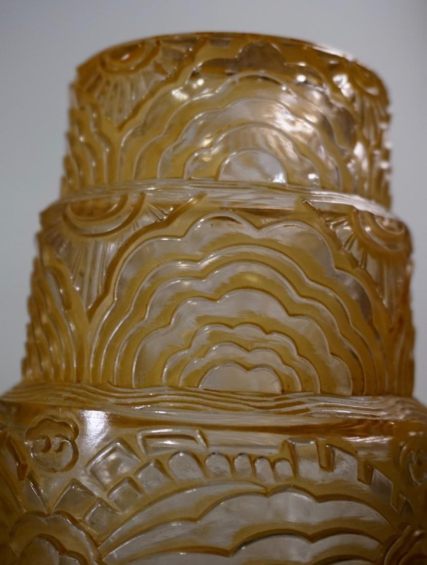 Art Deco Period Pendant Lamp Embossed Amber Glass Shade - 3