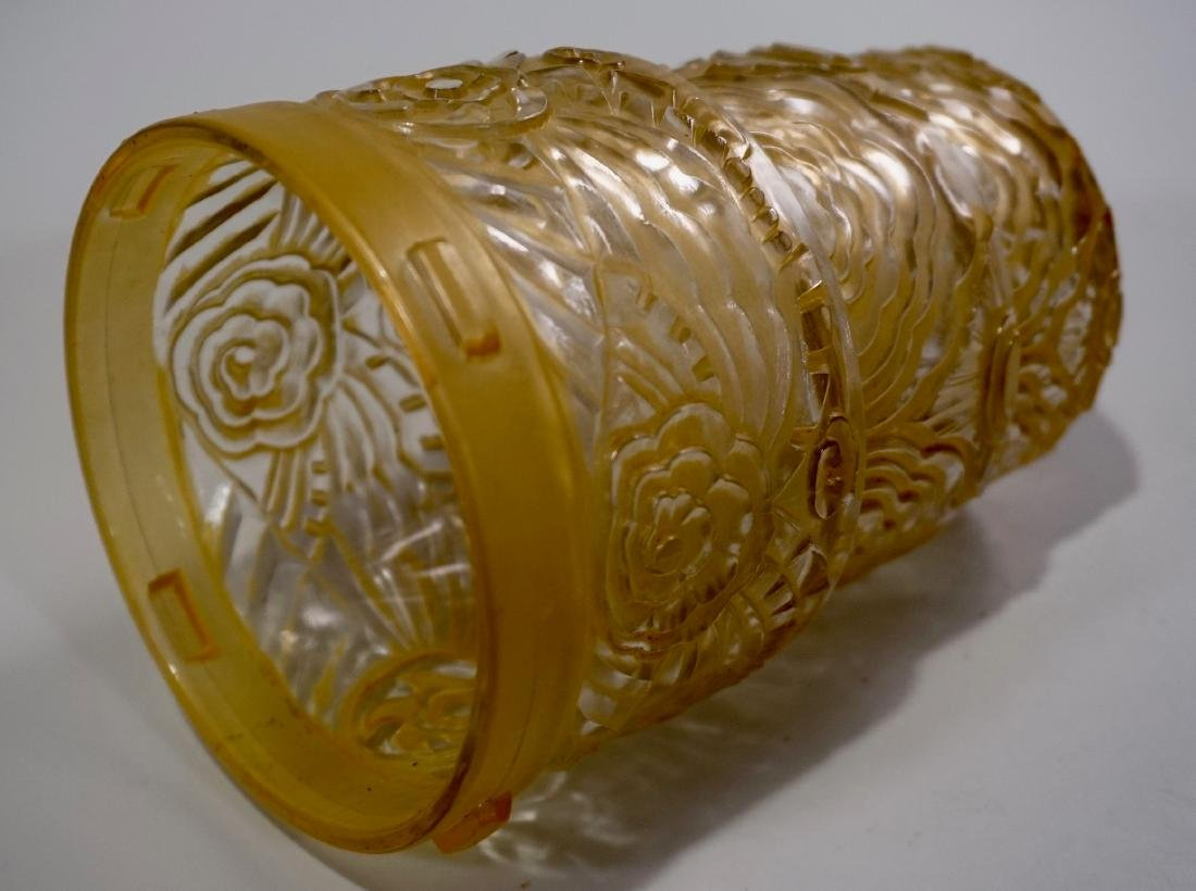 Art Deco Period Pendant Lamp Embossed Amber Glass Shade - 6