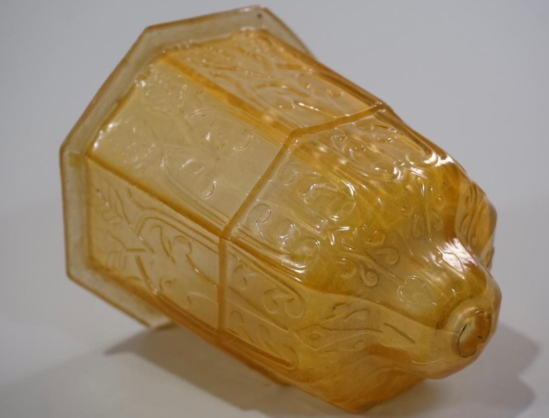 Art Deco Amber Glass Lamp Shade Embossed Design Vintage - 2