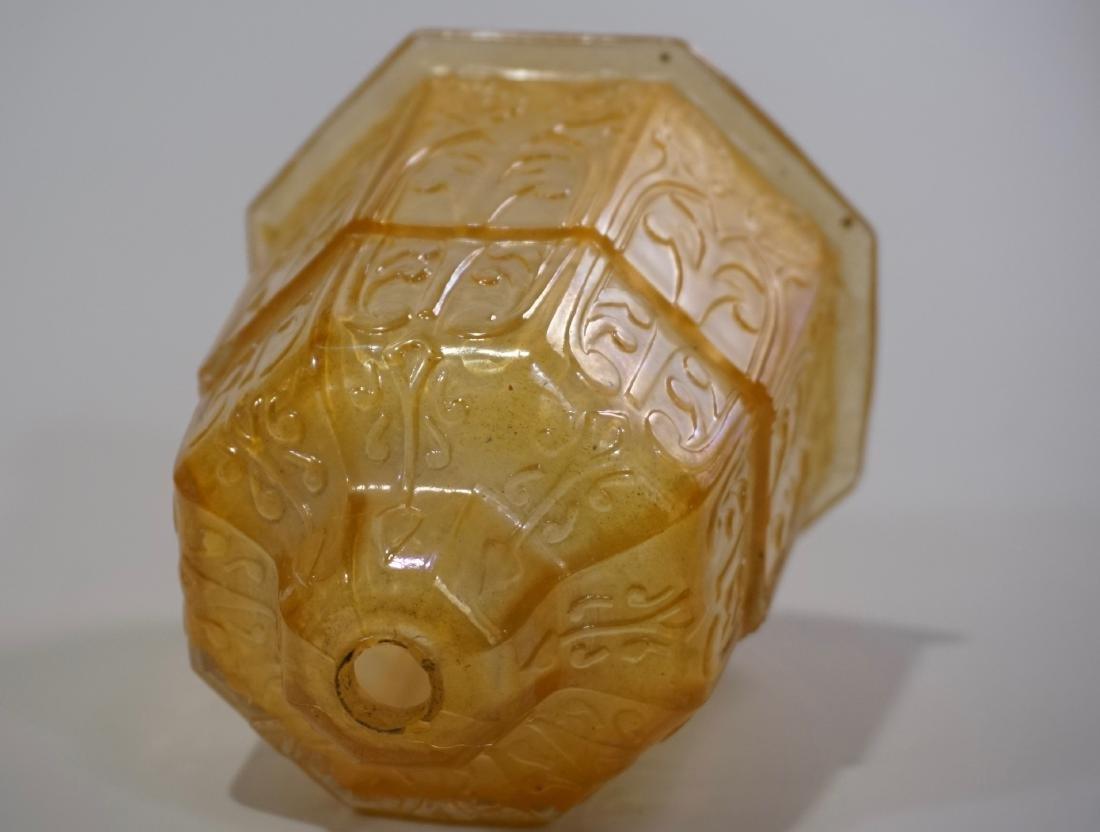 Art Deco Amber Glass Lamp Shade Embossed Design Vintage - 3