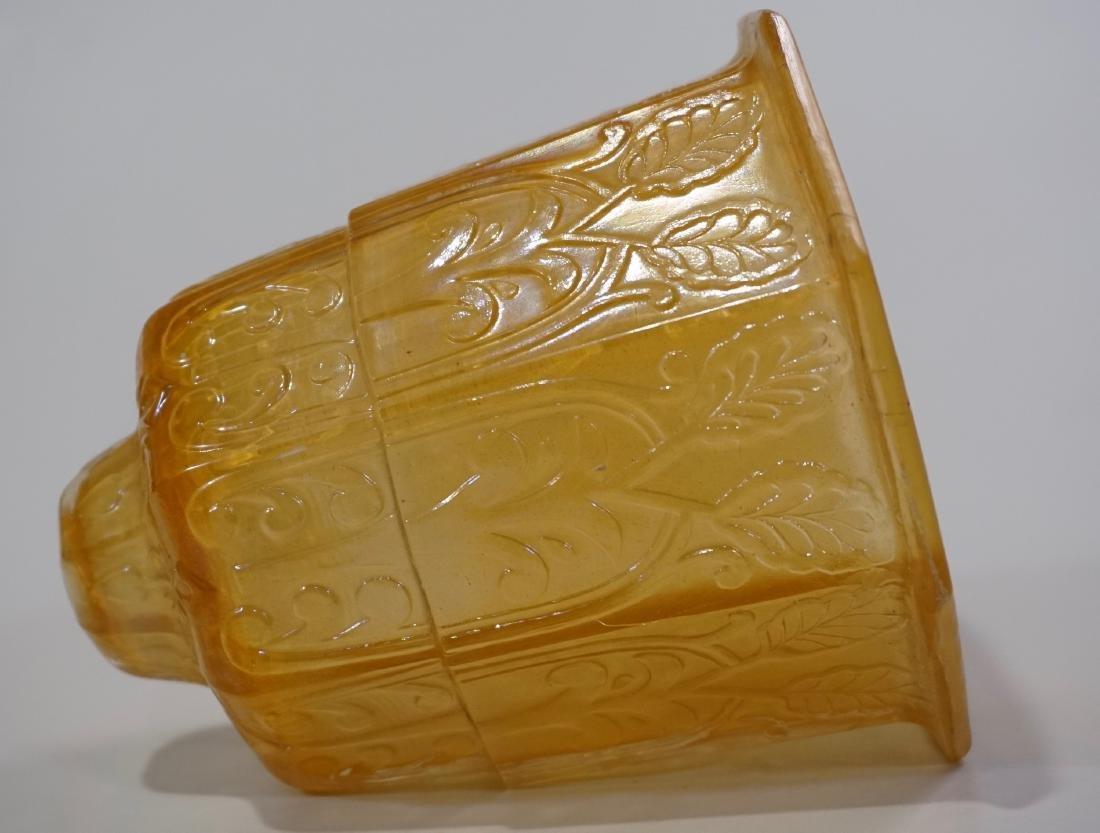 Art Deco Amber Glass Lamp Shade Embossed Design Vintage - 4