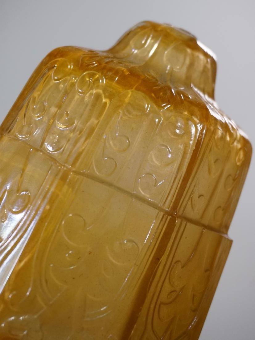 Art Deco Amber Glass Lamp Shade Embossed Design Vintage - 5