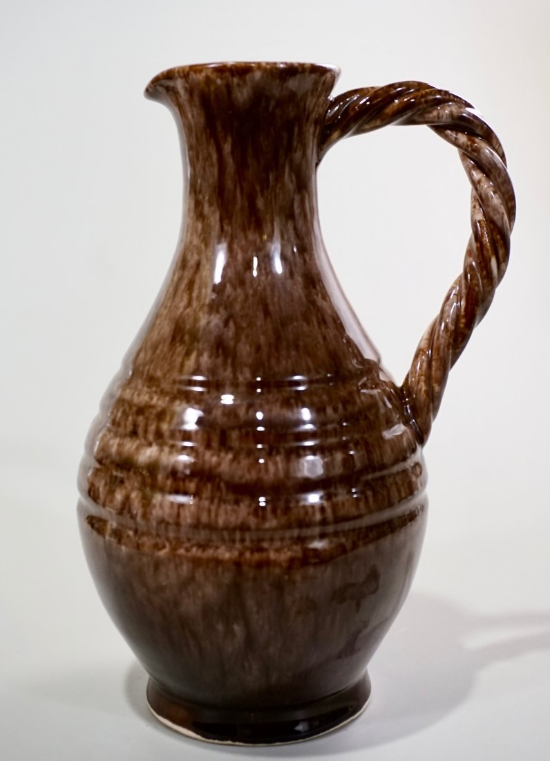 Vallauris Pottery France Brown Glaze Pitcher Helene Udo