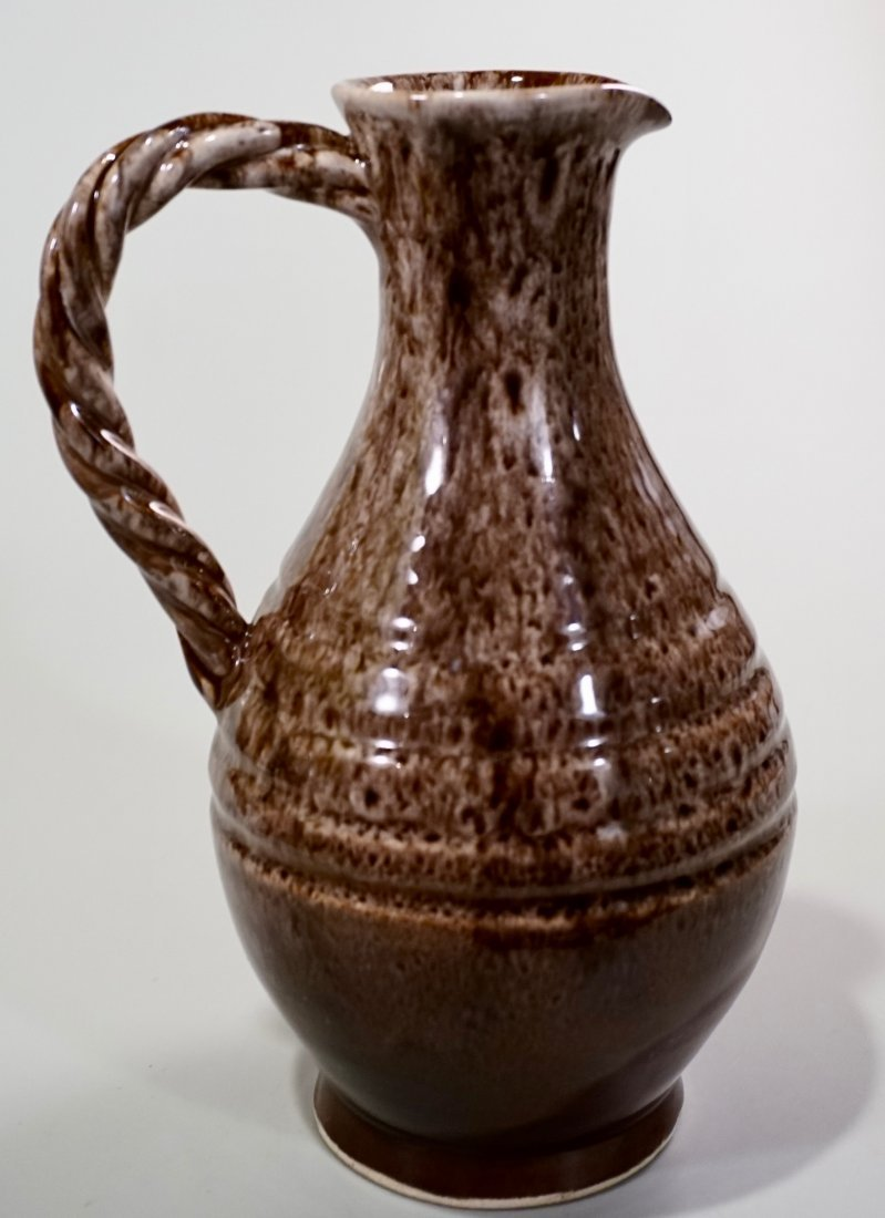 Vallauris Pottery France Brown Glaze Pitcher Helene Udo - 2