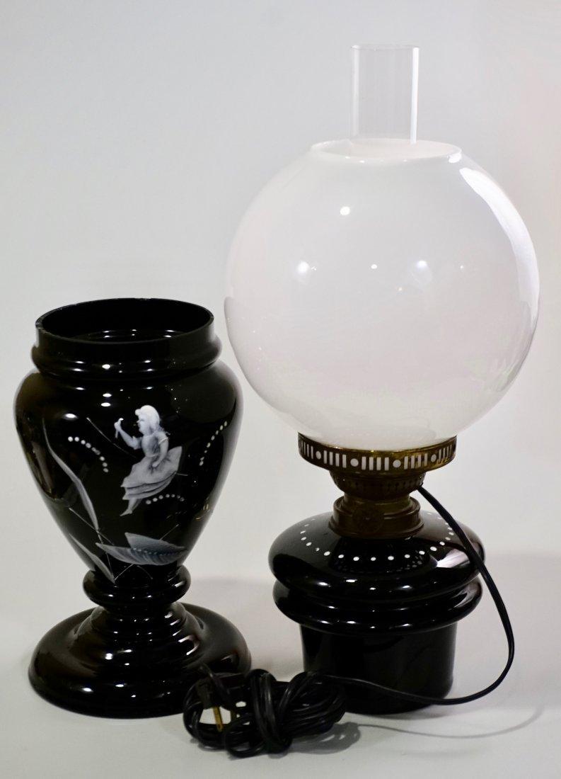 Victorian Mary Gregory Kerosene Lamp - 4