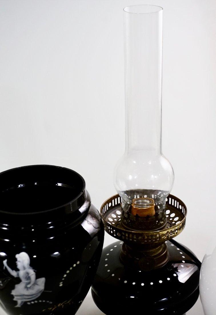 Victorian Mary Gregory Kerosene Lamp - 6