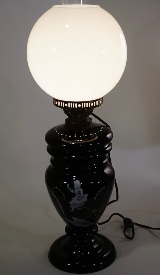 Victorian Mary Gregory Kerosene Lamp - 9