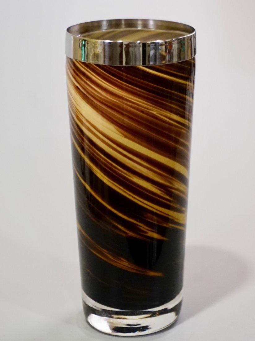 Modern Art Glass Swirl Vase White Metal Rim