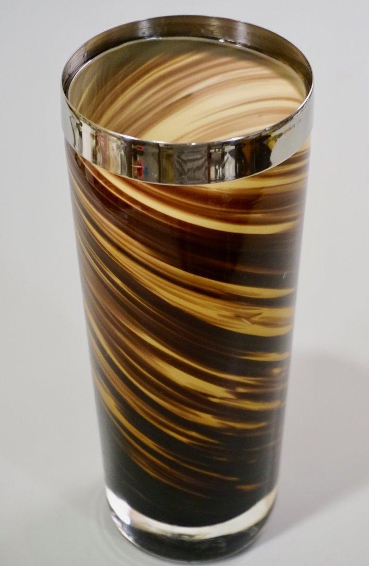 Modern Art Glass Swirl Vase White Metal Rim - 2