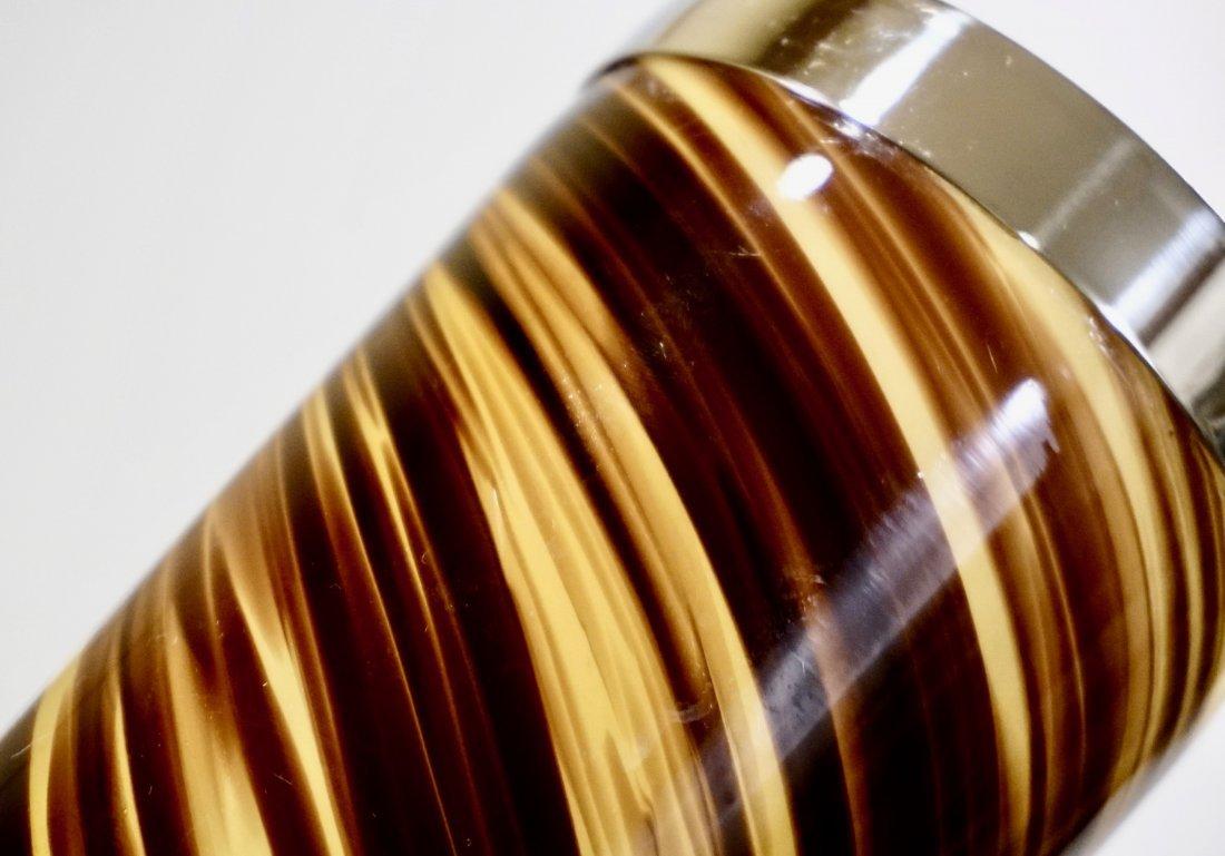 Modern Art Glass Swirl Vase White Metal Rim - 3