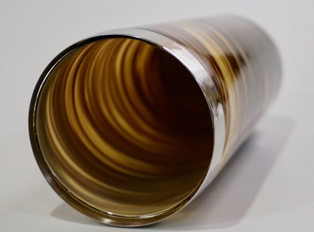 Modern Art Glass Swirl Vase White Metal Rim - 4