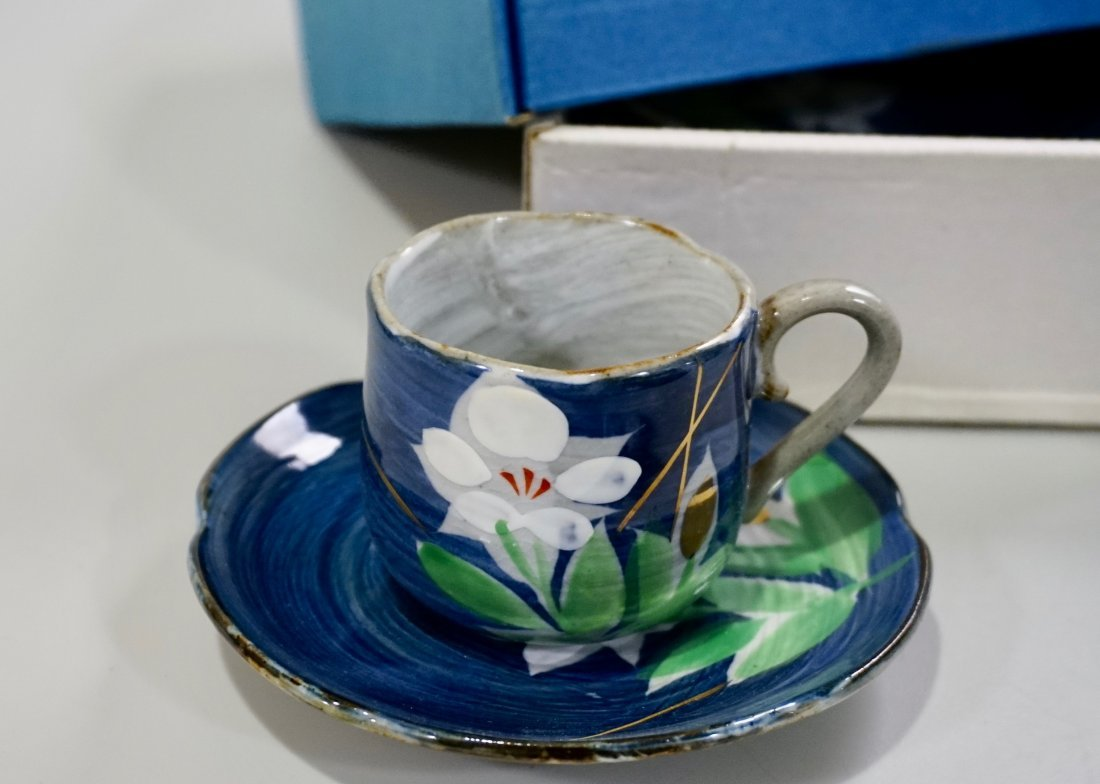 Japanese Hand Painted Pottery Tea Cups & Saucers Boxed