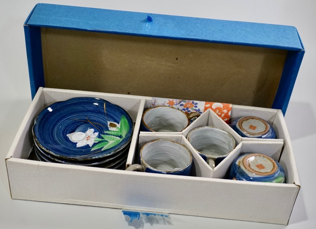 Japanese Hand Painted Pottery Tea Cups & Saucers Boxed - 2