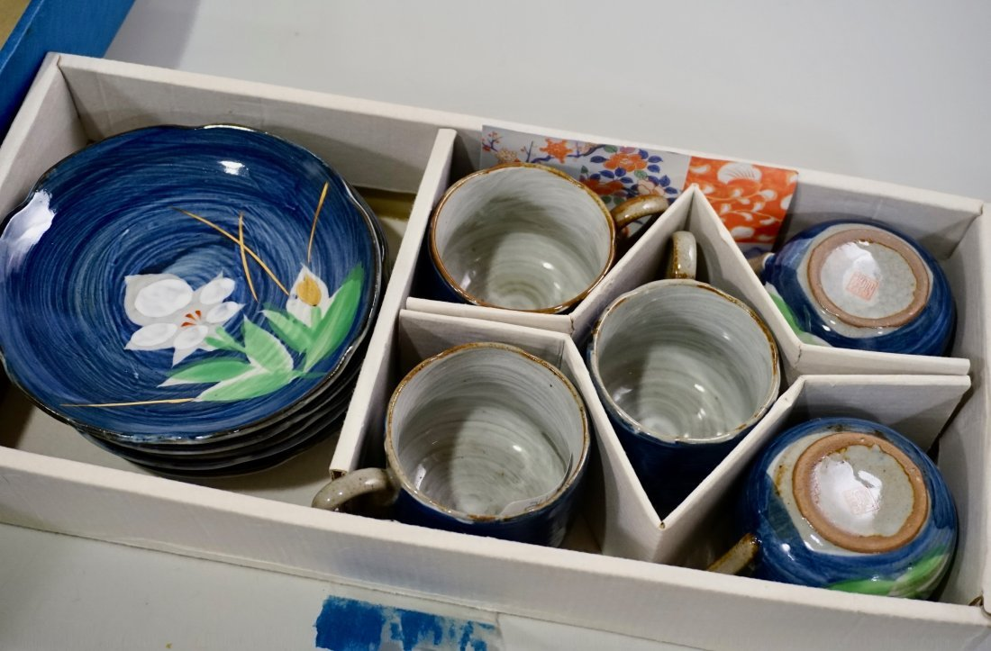 Japanese Hand Painted Pottery Tea Cups & Saucers Boxed - 3