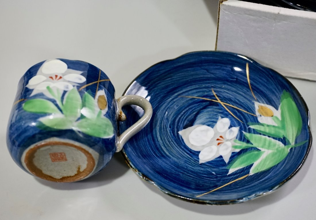 Japanese Hand Painted Pottery Tea Cups & Saucers Boxed - 4