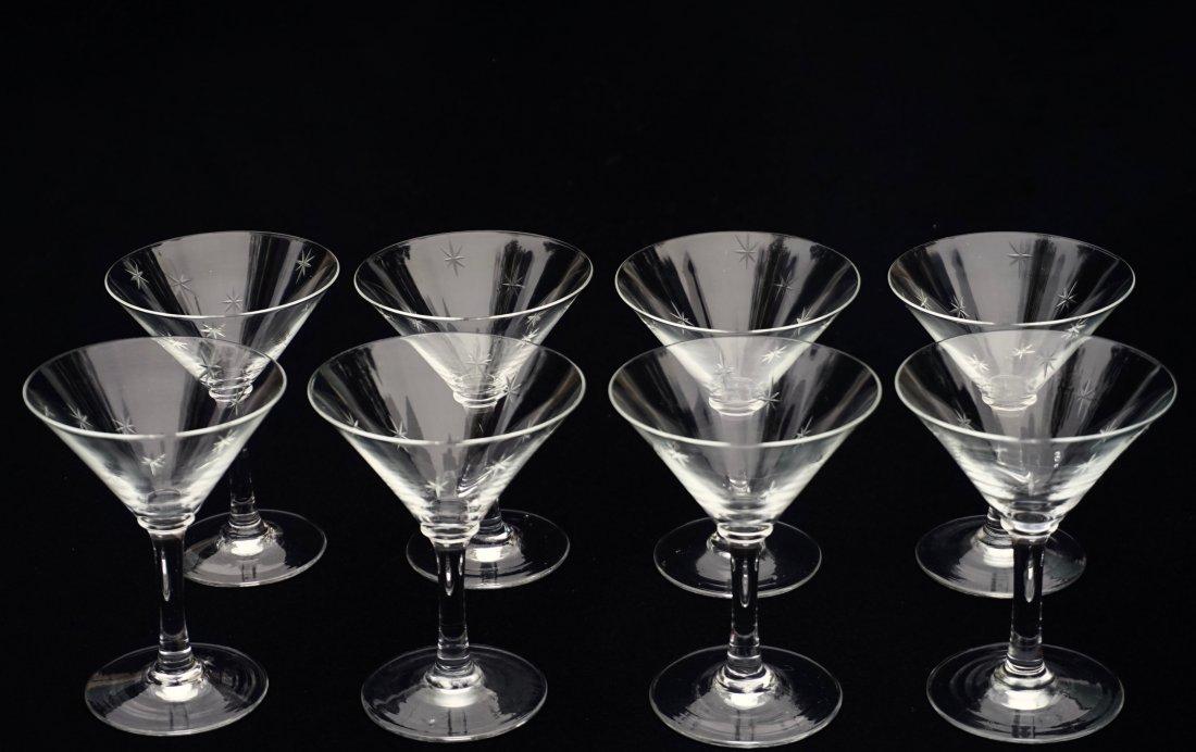 Art Deco Starburst Cut Glass Cocktail Glasses Vintage