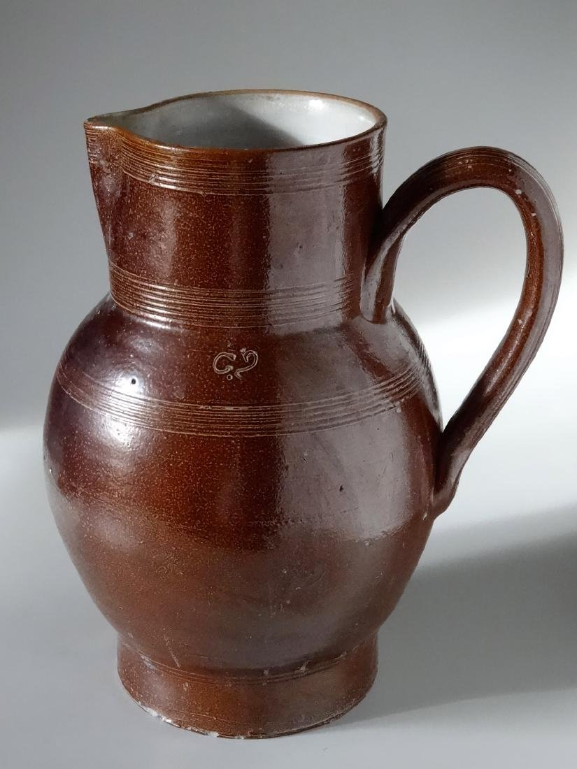 Antique Redware American Pottery Glazed Pitcher Large