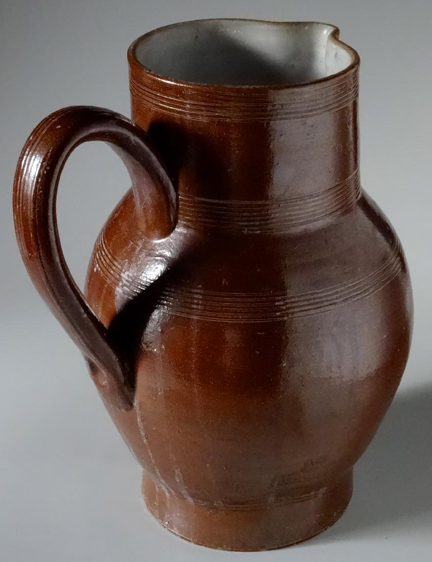Antique Redware American Pottery Glazed Pitcher Large - 4