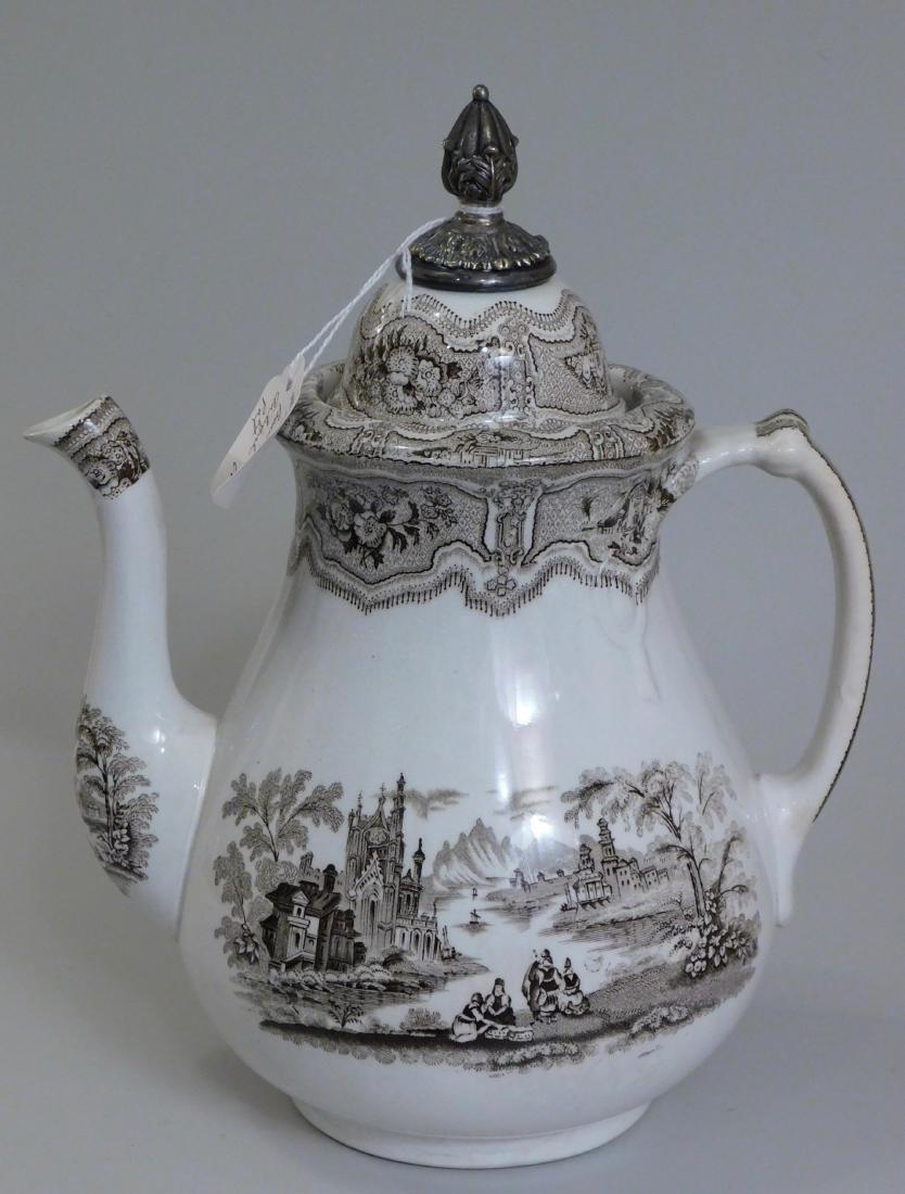 English Syria Transferware Coffee Pot Silver Topper