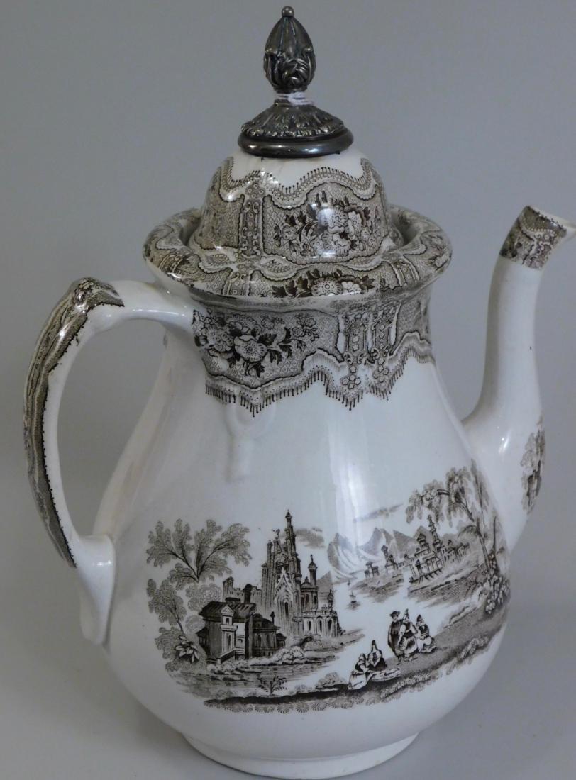 English Syria Transferware Coffee Pot Silver Topper - 3