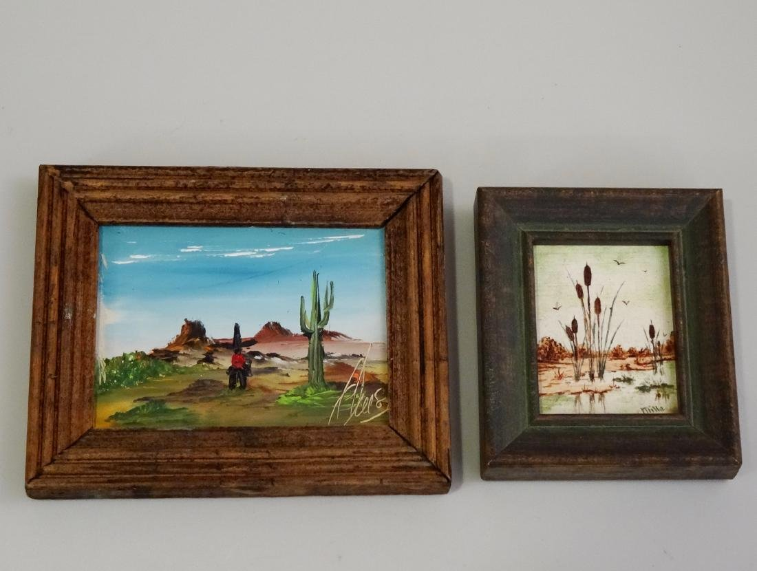 Doll House Hand Painted Miniatures Framed Lot of 2