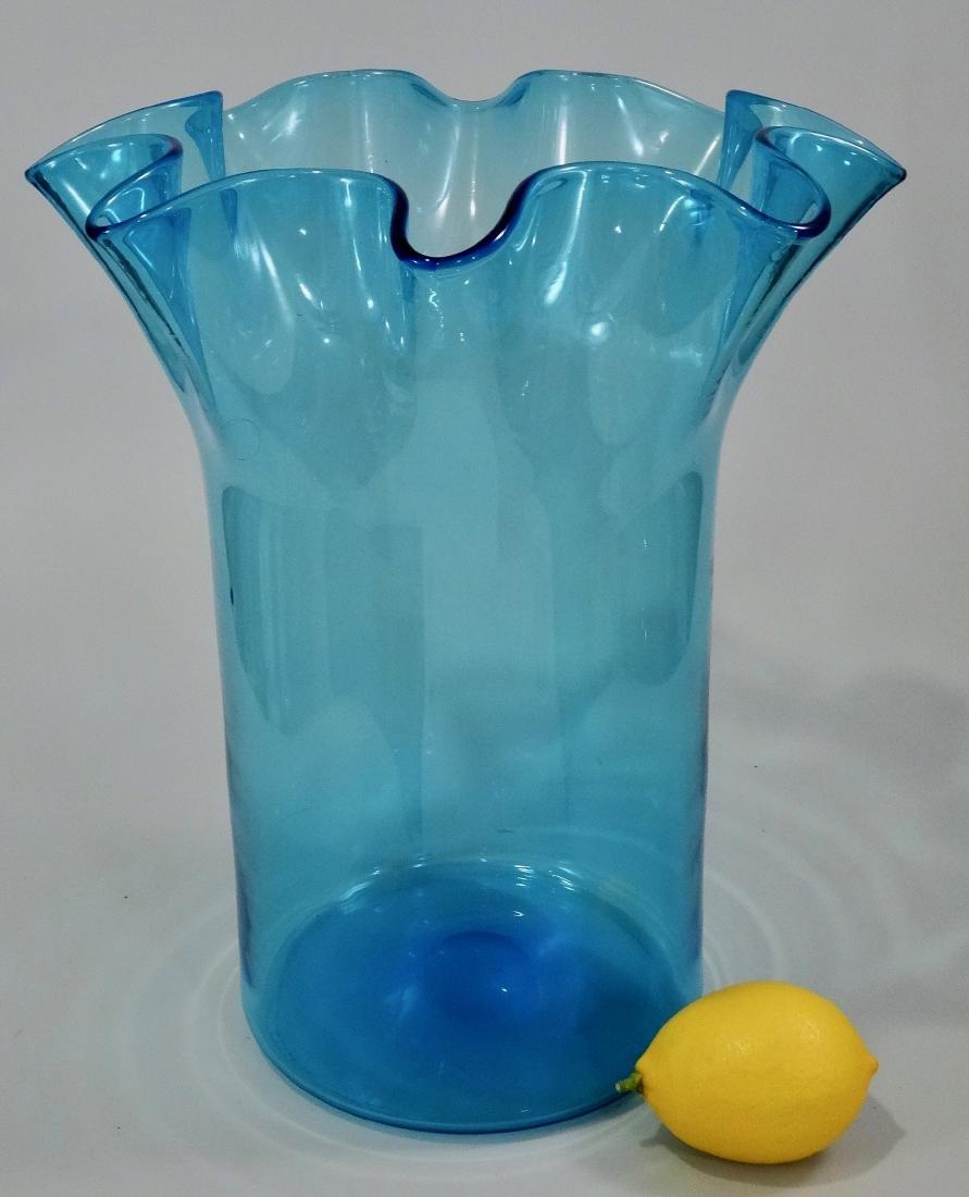 Crimped Blue Art Glass Pontil Blown Large Vase