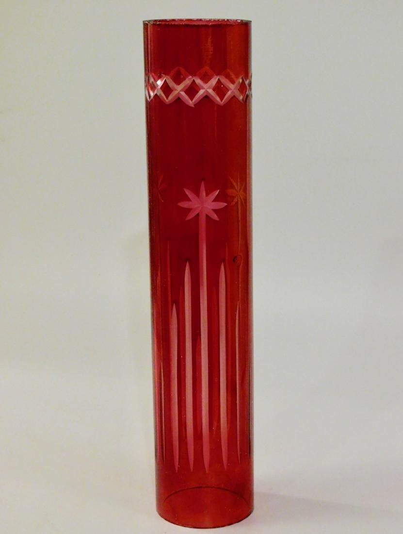 Ruby Flashed Cut Glass Kerosene Lamp Chimney Shade