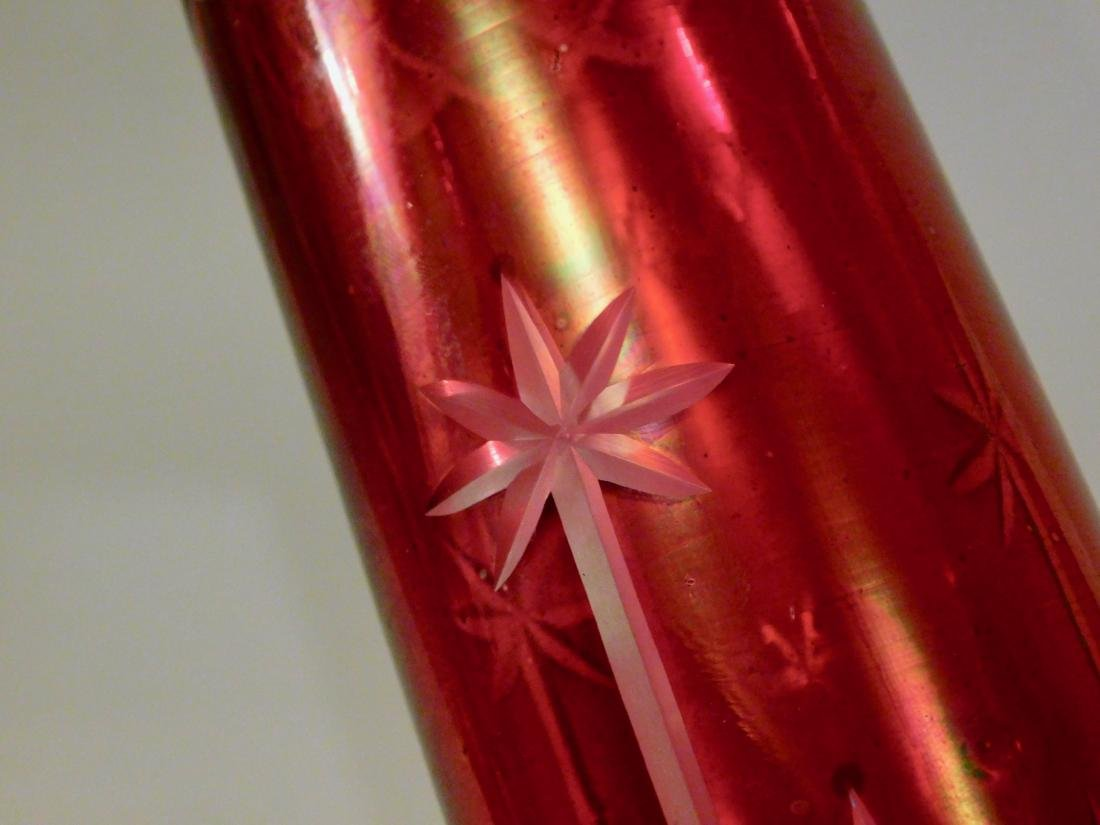 Ruby Flashed Cut Glass Kerosene Lamp Chimney Shade - 3