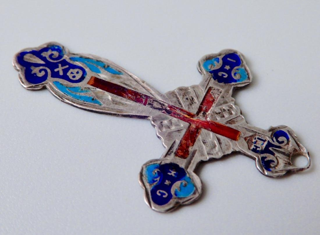 Antique Russian 84 Silver and Enamel Cross Pendant - 2