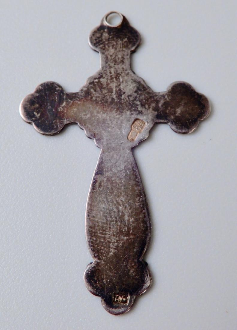 Antique Russian 84 Silver and Enamel Cross Pendant - 4