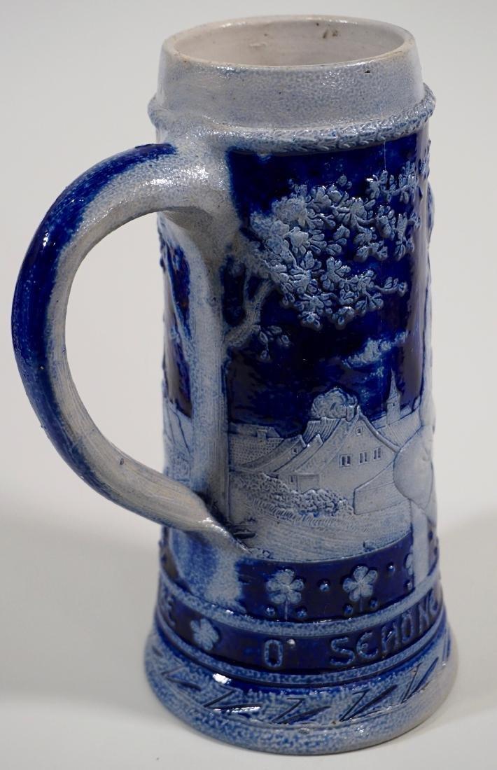 Vintage German Beer Stein Cobalt Blue Stoneware Tankard - 3