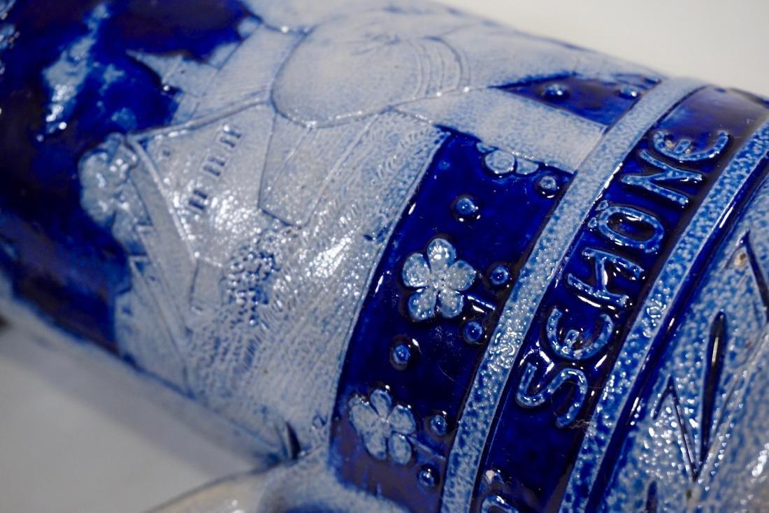 Vintage German Beer Stein Cobalt Blue Stoneware Tankard - 8