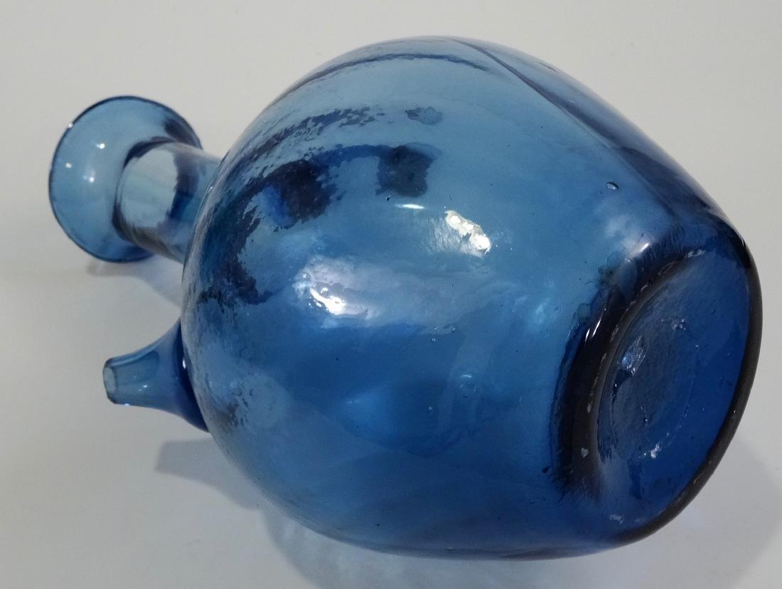 Pontil Blown Blue Art Glass Spouted Bottle Vase - 5