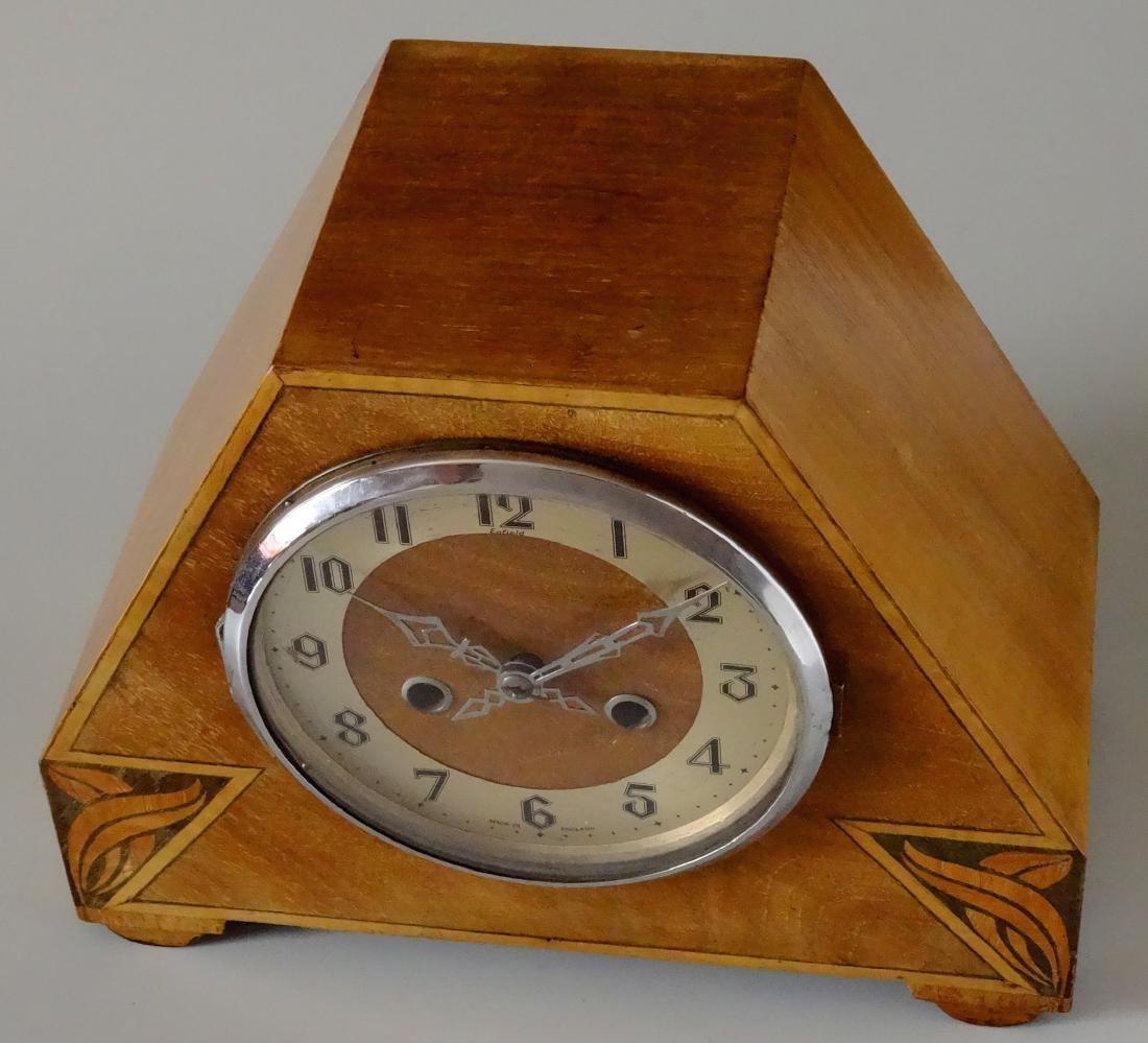 English Art Deco Inlaid Wood Shelf Mantel Clock - 2