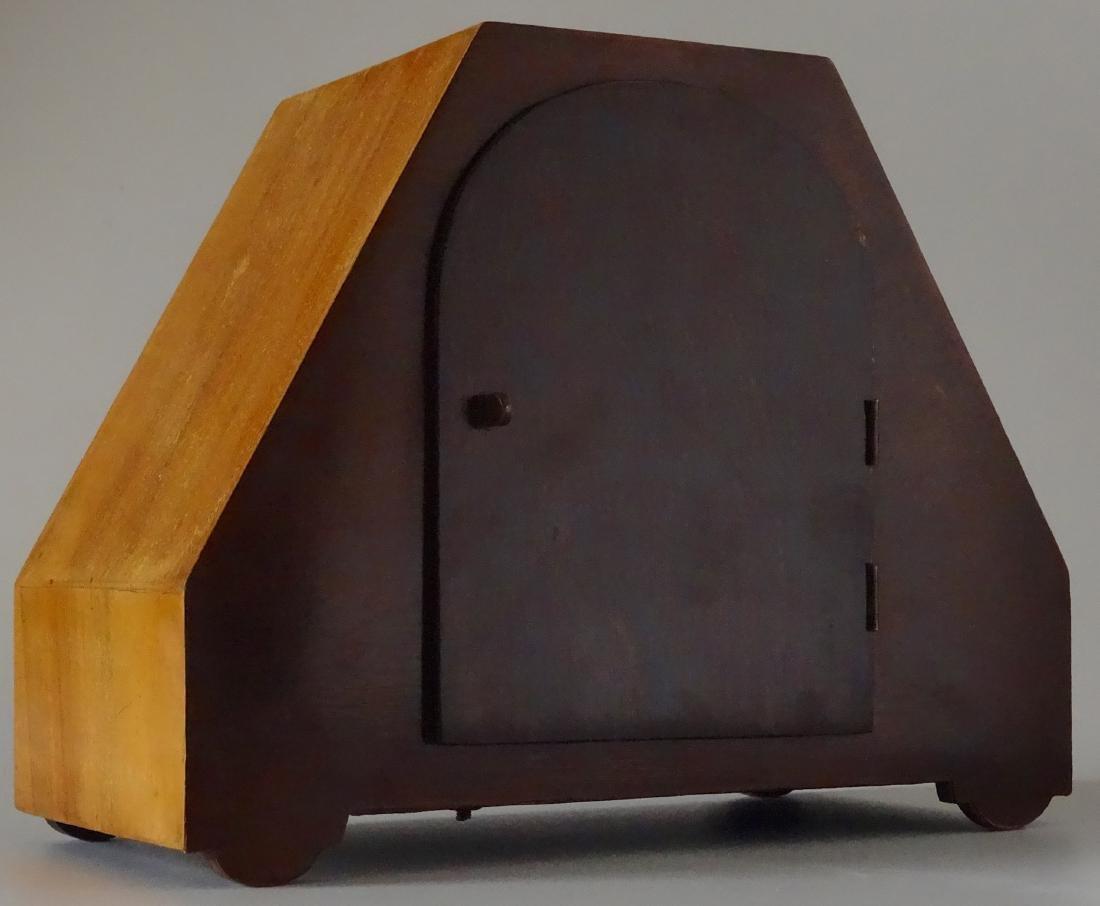 English Art Deco Inlaid Wood Shelf Mantel Clock - 5