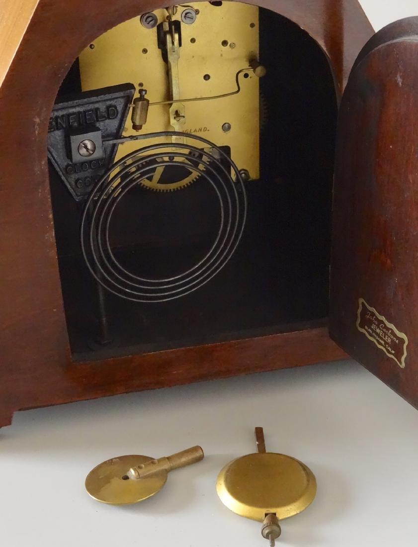 English Art Deco Inlaid Wood Shelf Mantel Clock - 6