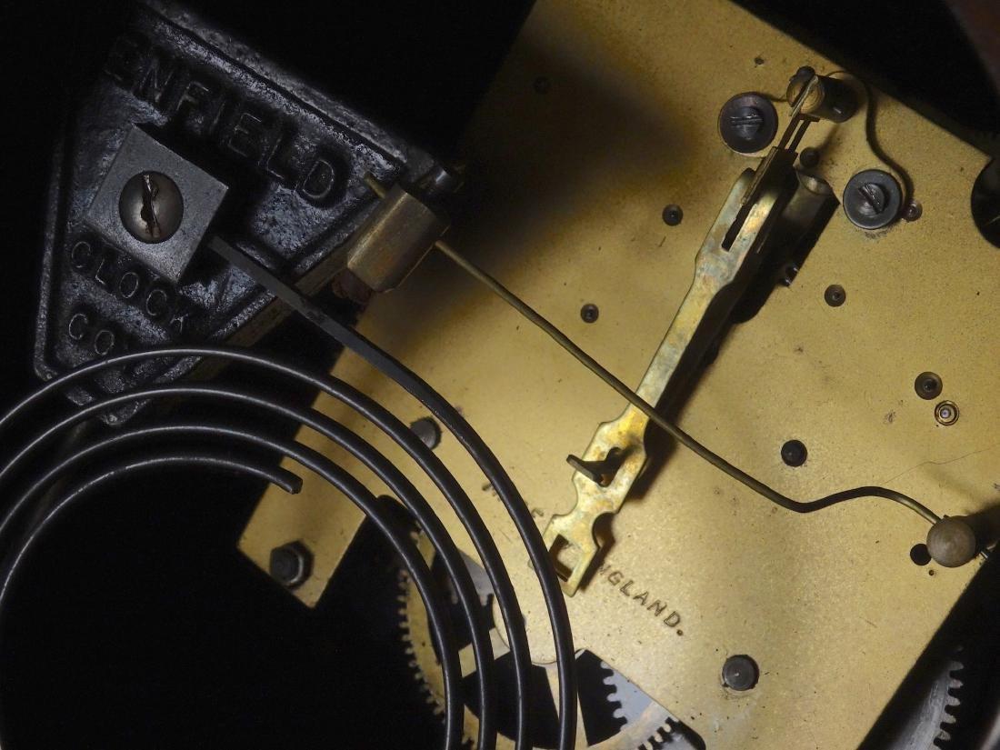 English Art Deco Inlaid Wood Shelf Mantel Clock - 7