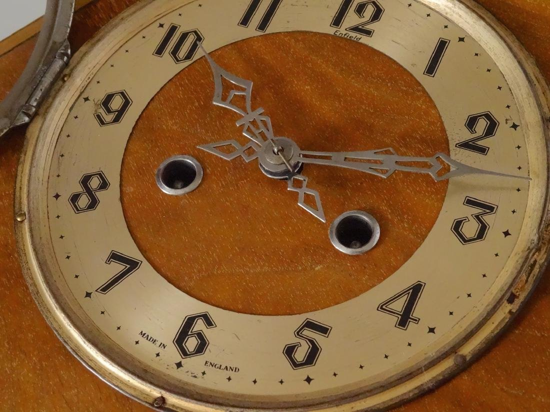 English Art Deco Inlaid Wood Shelf Mantel Clock - 8