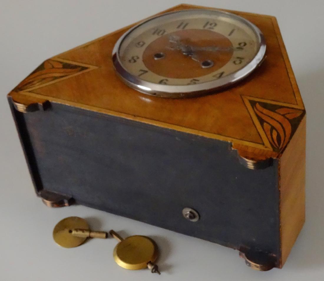 English Art Deco Inlaid Wood Shelf Mantel Clock - 9