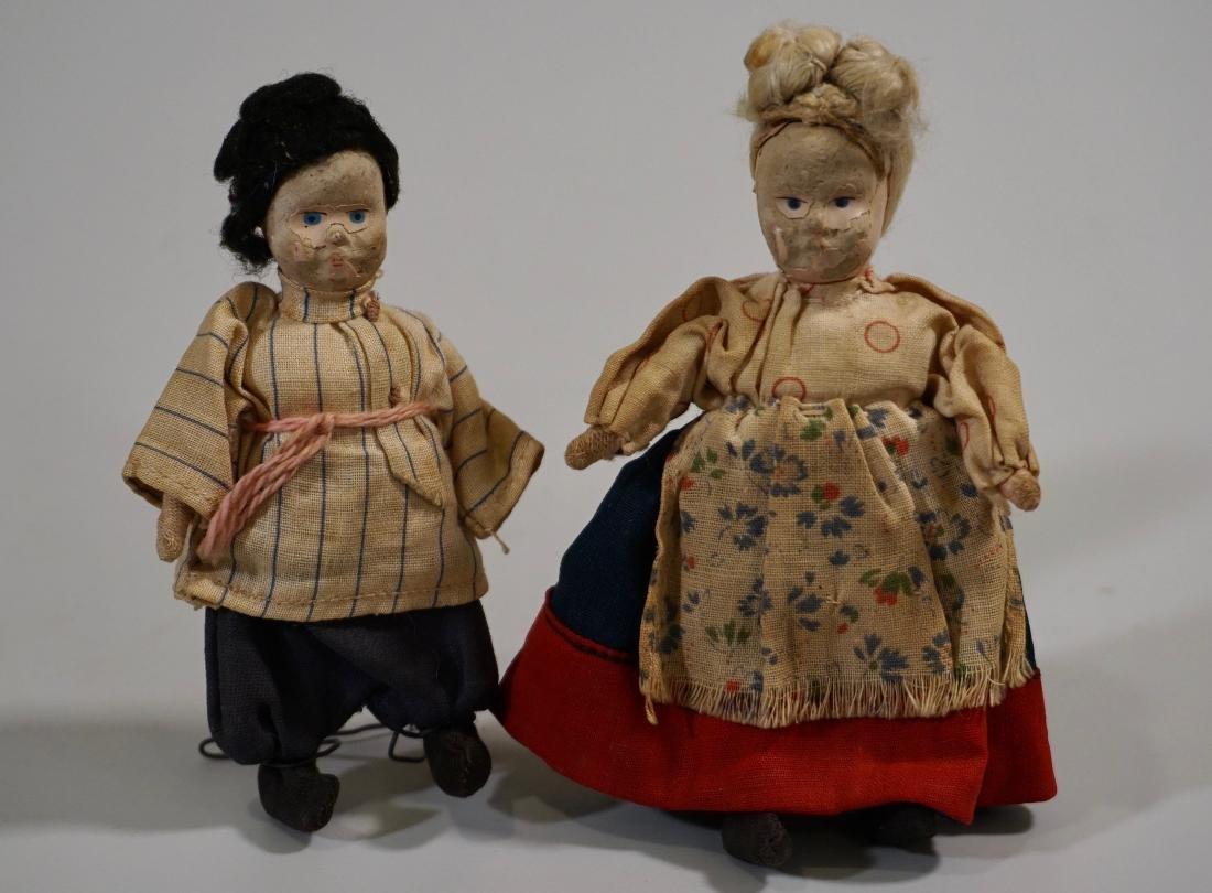 Antique Russian Peasants Miniature Cloth Dolls Pair