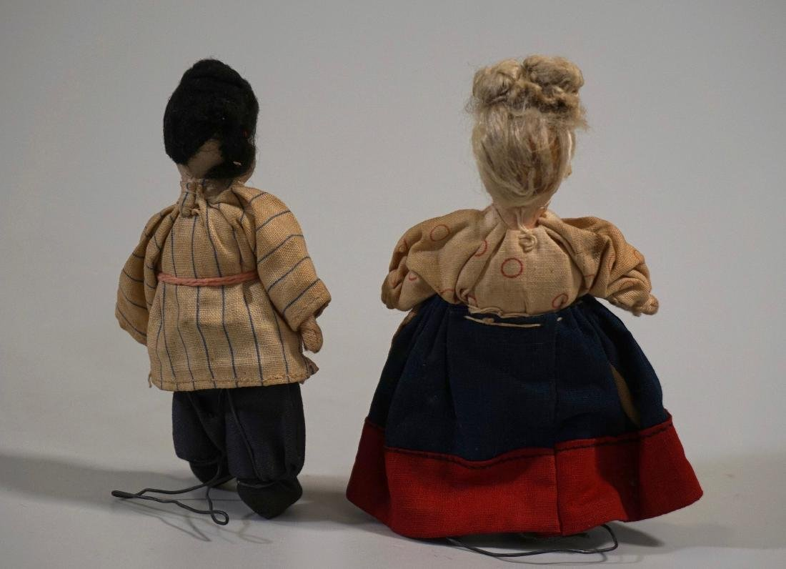 Antique Russian Peasants Miniature Cloth Dolls Pair - 2