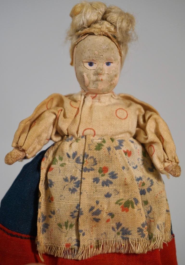 Antique Russian Peasants Miniature Cloth Dolls Pair - 5