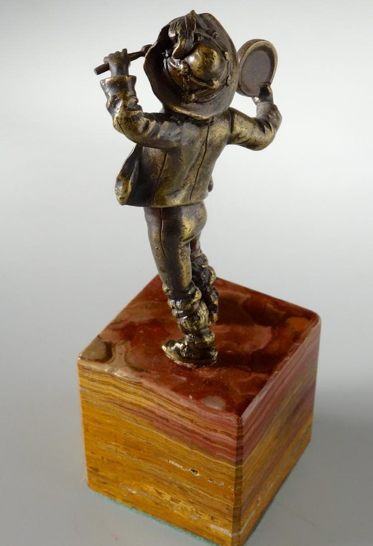 Italian Antique Bronze Boy with Tambourine Figurine - 3