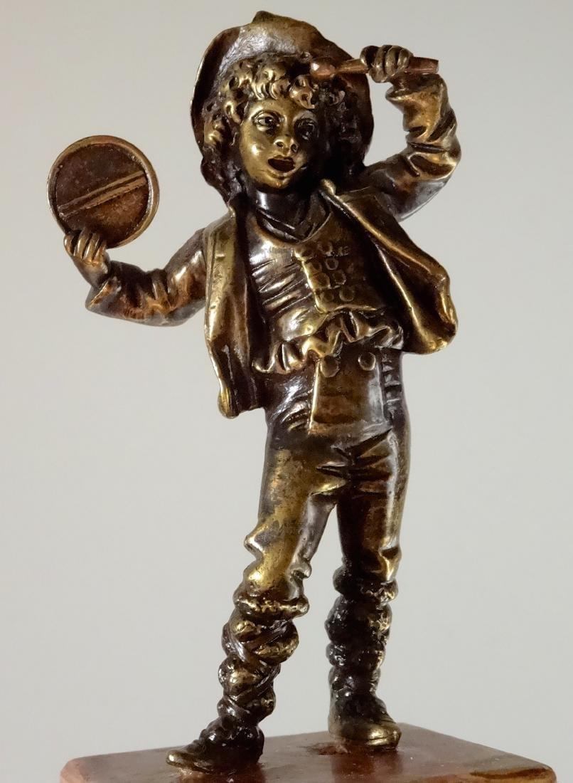 Italian Antique Bronze Boy with Tambourine Figurine - 5