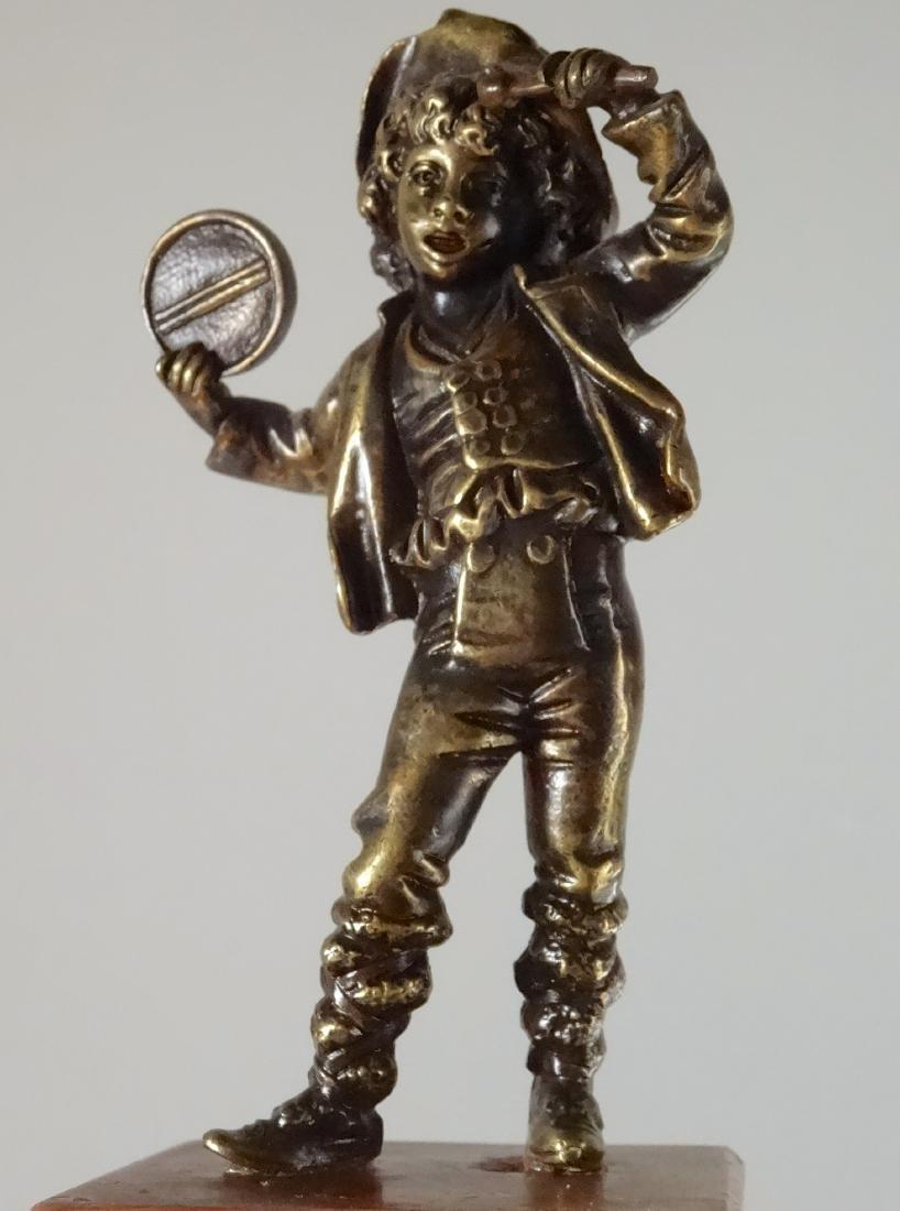 Italian Antique Bronze Boy with Tambourine Figurine - 6
